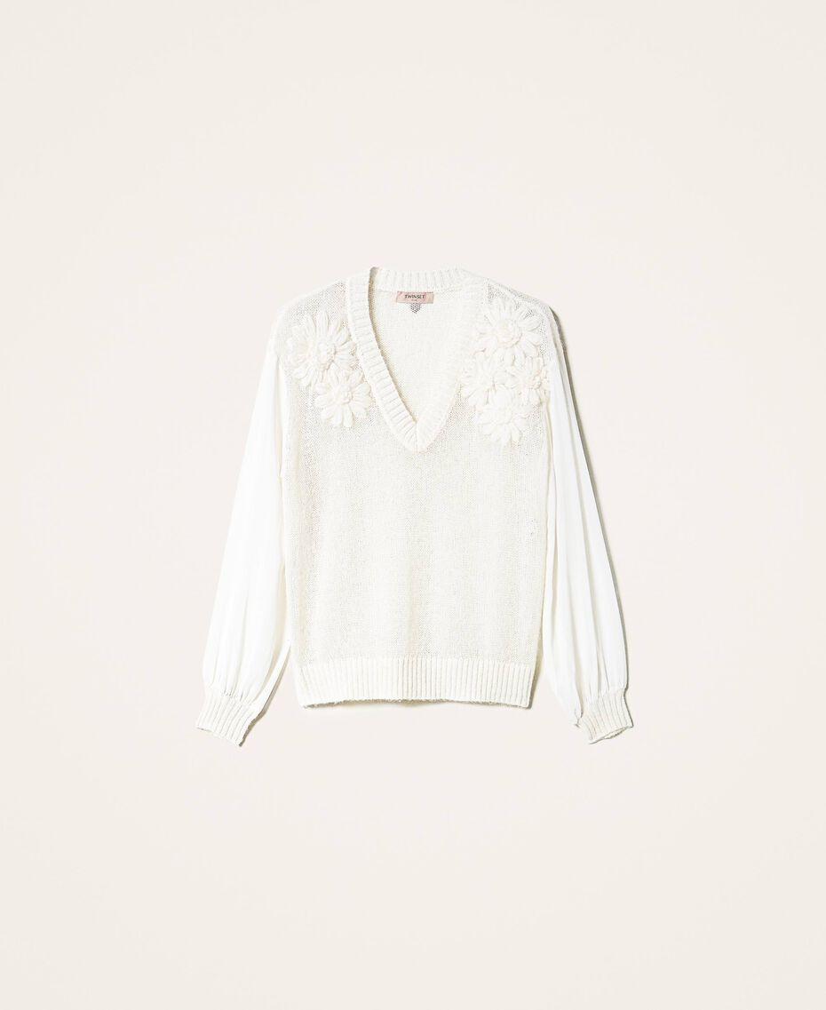 Maglia in mohair con ricamo Bianco Panna Donna 202TP3260-0S