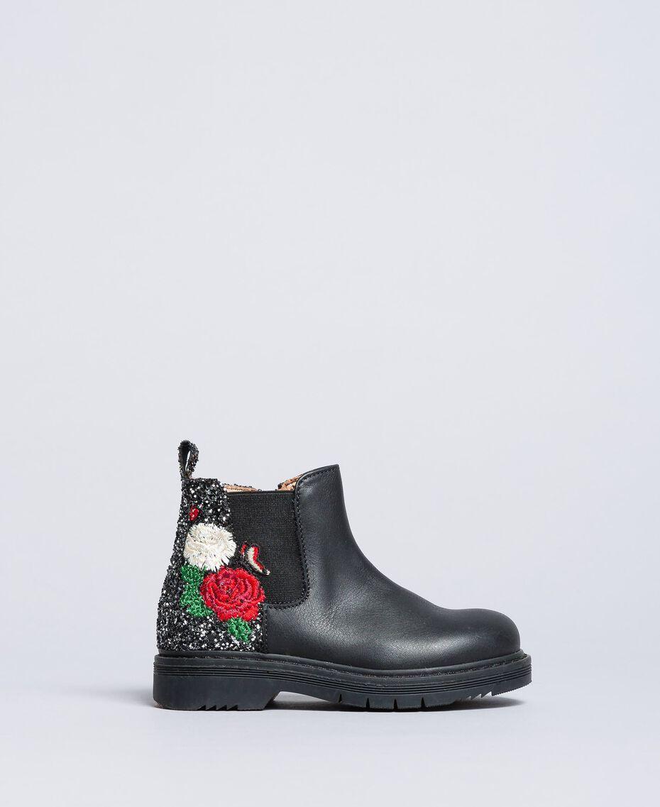 Embroidered leather beatles Bicolour Black / Silver Glitter Child HA86C1-02