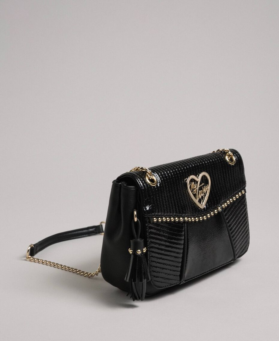 Faux leather shoulder bag with chain and studs Black Woman 192MO8013-02