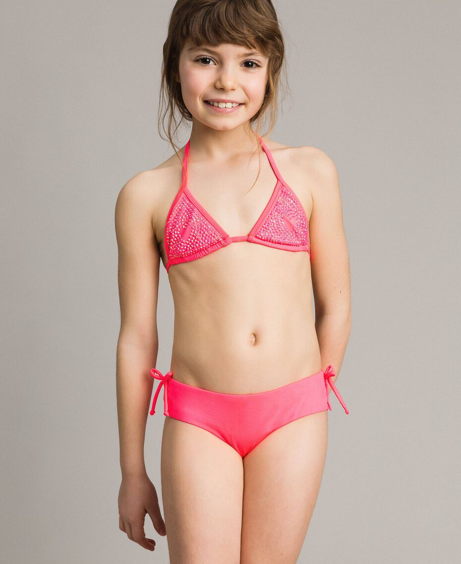 Triangle bikini with rhinestones Fluorescent Pink Child 191GJM904-0S