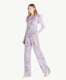 Printed dungarees All Over Violet Print Woman PS821R-02