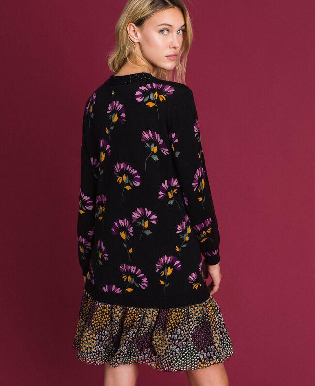 Wollkleid mit Print und Stickereien Blumenprintmix Schwarz Frau 192TT3340-03