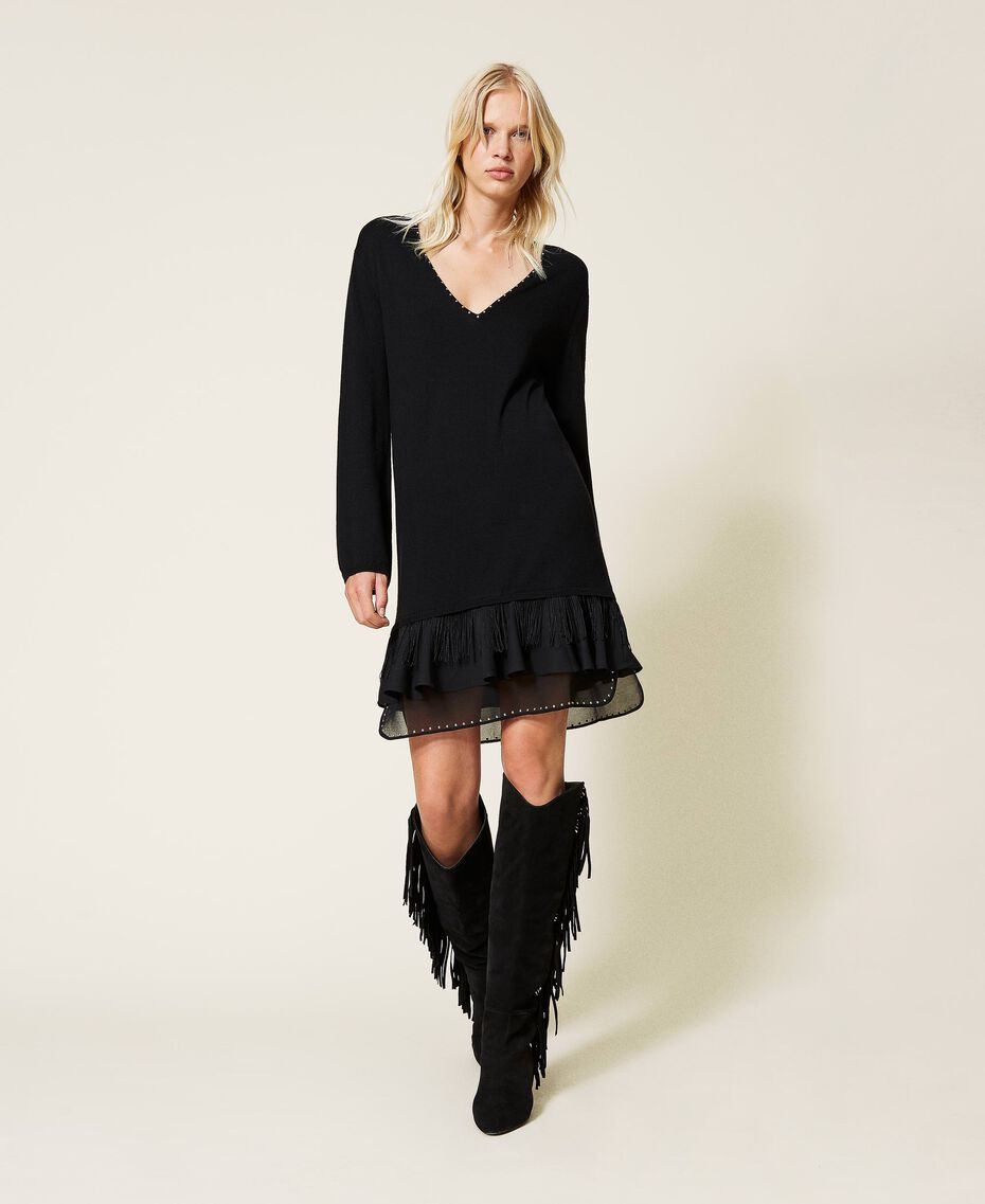 Robe en laine mélangée avec clous et franges Noir Femme 212TP3191-01