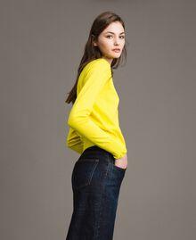 Cashmere blend mandarin collar top Yellow Woman 191TP306A-02