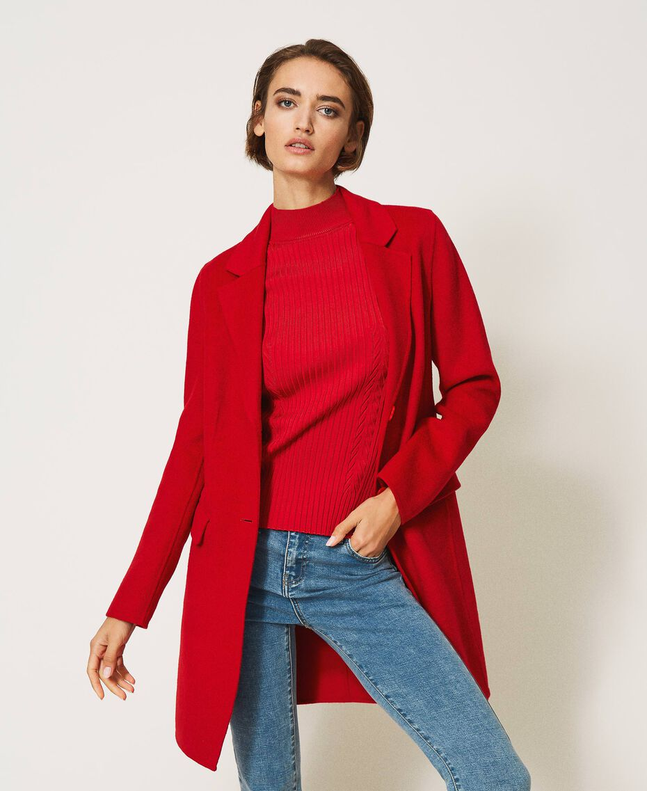 Mantel aus zweilagigem Tuch Kirsch Rot Frau 202TP2033-02