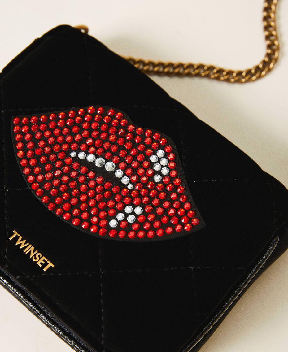Velvet shoulder bag with patch Black Woman 202TD8280-02