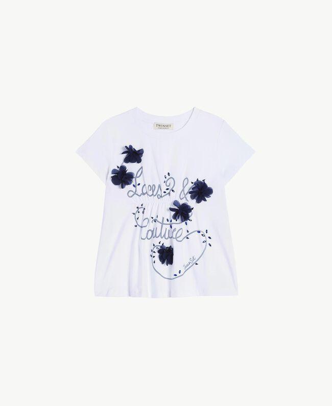 T-Shirt mit Stickerei Zweifarbig Papyrusweiß / Ozeanblau Kind GS82JD-01