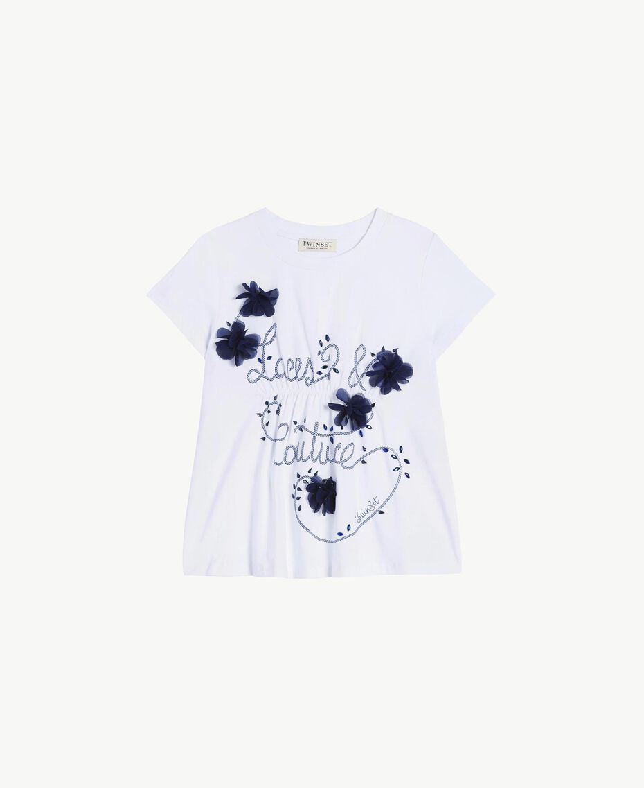 "Embroidered T-shirt Two-tone ""Papyrus"" White / Ocean Blue Child GS82JD-01"