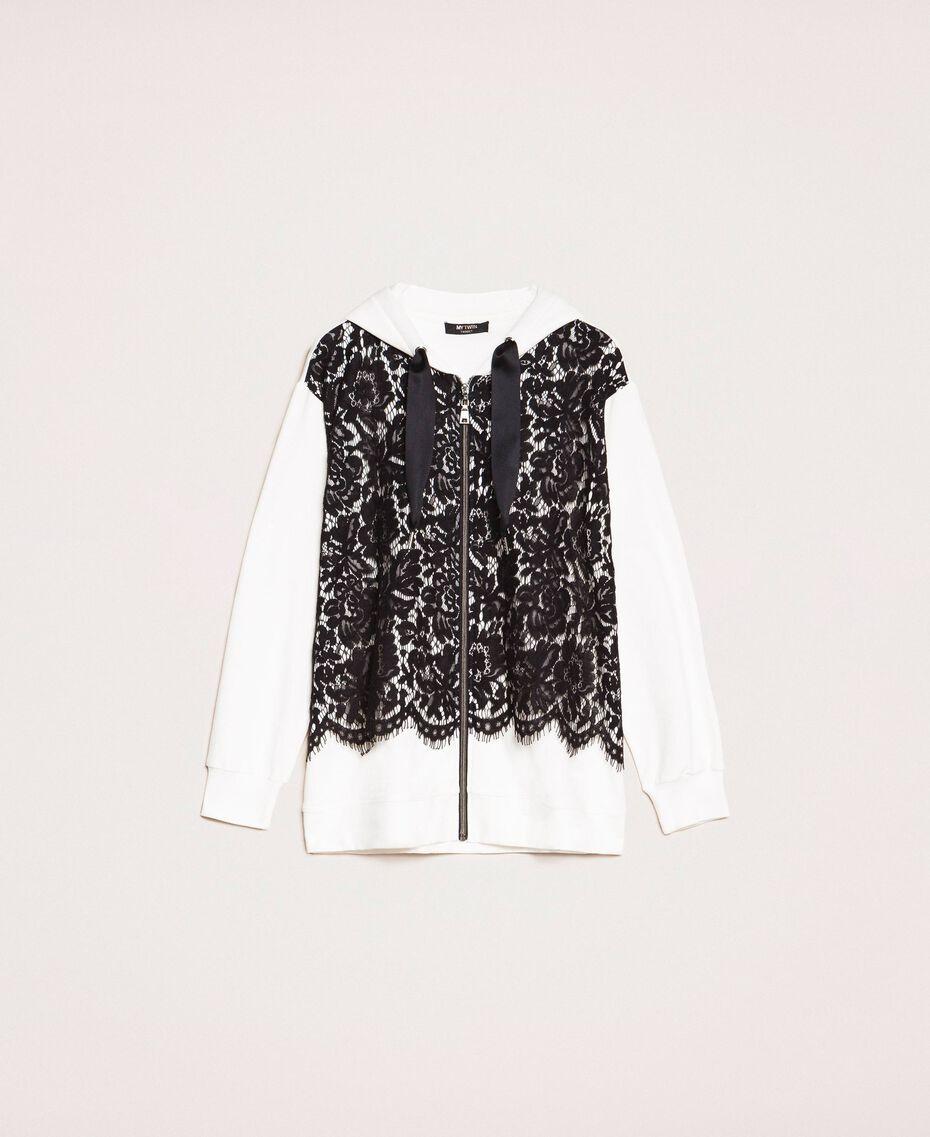 Maxi sweat-shirt avec dentelle Bicolore Lis/ Noir Femme 201MP2141-0S