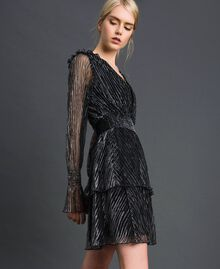 Metal creponne tulle dress Black / Silver Woman 192MT2140-01