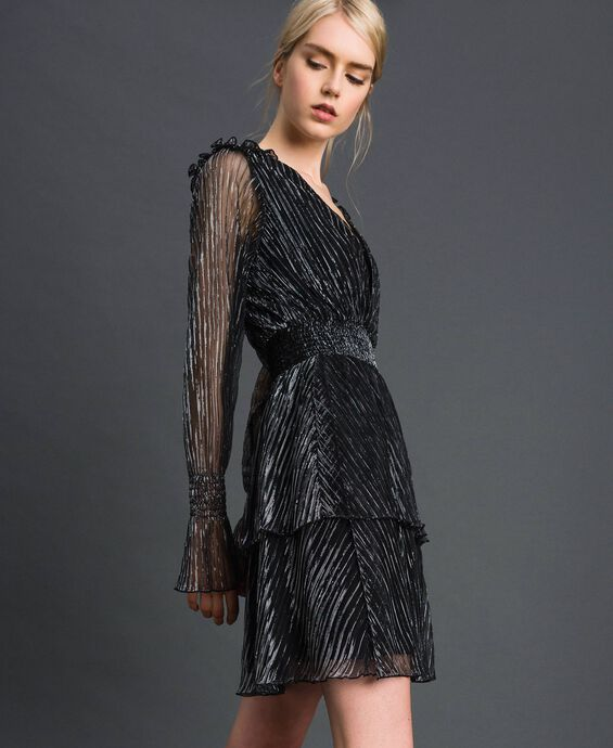 Платье из тюля-крепон с металлизированными нитями