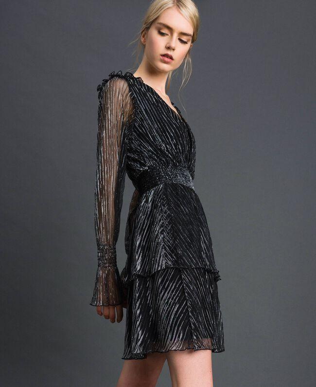 Robe en tulle crépon métallique Noir / Argent Femme 192MT2140-01