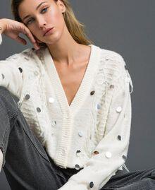 Cardigan en laine et mohair avec sequins Blanc Neige Femme 192ST3021-04