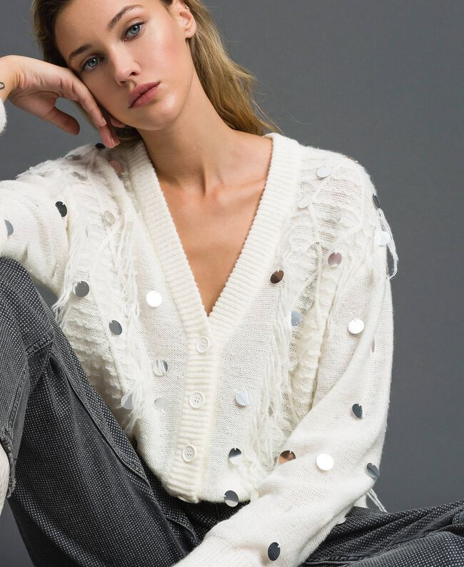 Cardigan in lana e mohair con paillettes Bianco Neve Donna 192ST3021-04