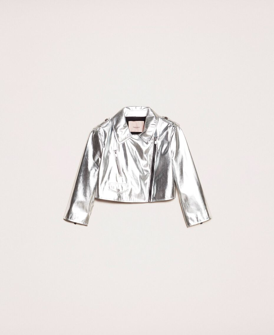 Cropped jacket in metal faux leather Silver Woman 201TP2410-0S