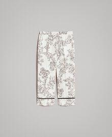Floral print linen trousers Toile De Jouy Black Print Woman 191TT2461-0S