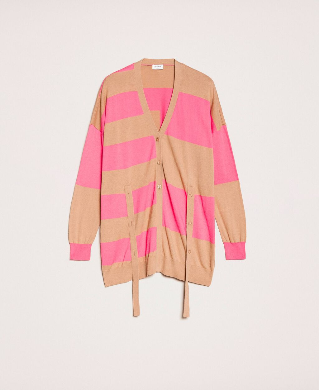 Asymmetric stripe cardigan