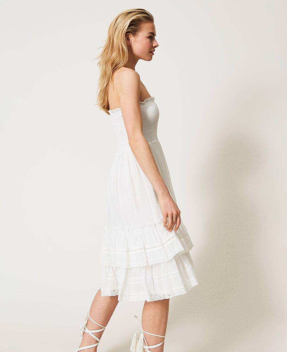 Платье-юбка с оборками и кружевом Слоновая кость женщина 211LM2BPP-03