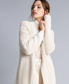 Maxi cardigan en coton et laine Blanc Femme IA87AA-04