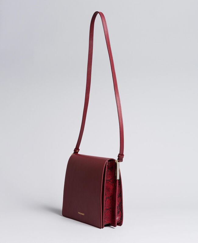Big animal print shoulder bag in smooth leather Bicolour Burgundy / Burgundy Python Woman AA8PG3-01