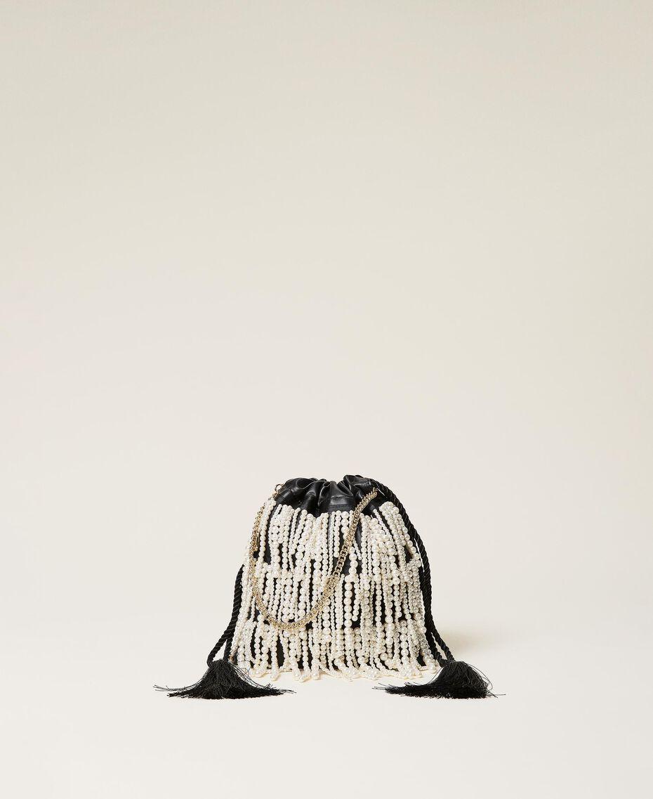 Sac modèle sacchetto avec franges de perles Noir Femme 212TB7300-01