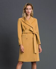 "Double breasted wool cloth coat ""Gold Camel"" Beige Woman 999TT2030-02"