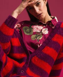 Maxi cardigan en mohair rayé Rayure Rouge Betterave / Grenadier Femme 192TP3272-04
