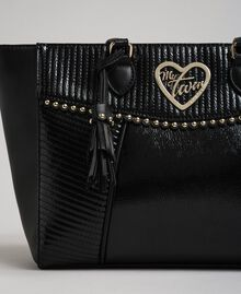 Faux leather shopping bag with studs and tassel Black Woman 192MO8010-01