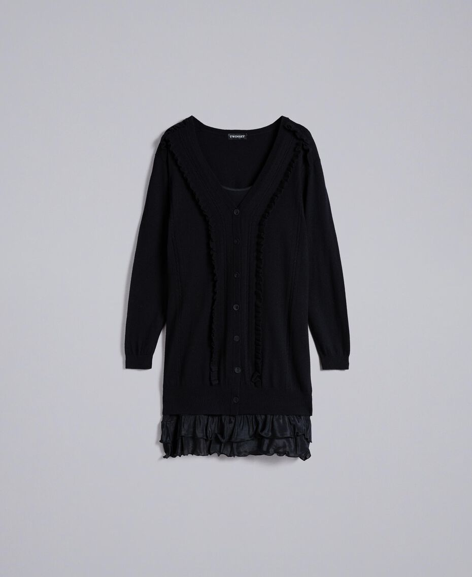 Wool and cashmere dress with slip Black Woman PA83AP-0S