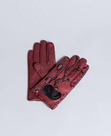 "Handschuhe aus Leder mit Animalierprägung Print ""Snake"" Bordeaux Frau AA8P3B-01"