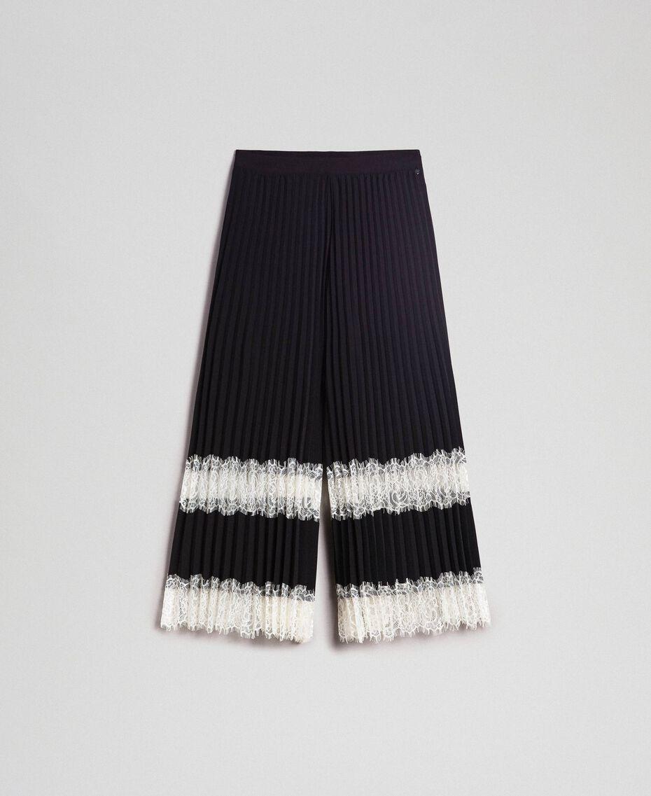 """Pantaloni a palazzo con pizzo Bicolor Nero / Bianco """"Neve"""" Donna 192TP2283-0S"""