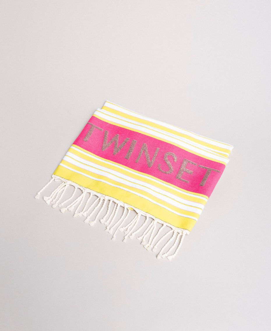 "Cotton beach towel with jacquard stripes ""Bronze"" Brown / ""Lemon Juice"" Yellow Multicolour Striping Woman 191LB4ANN-01"