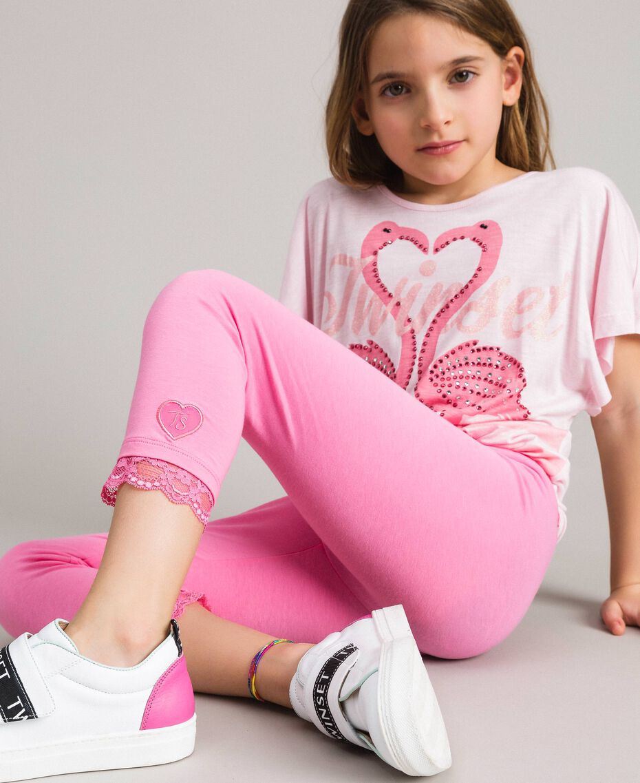 """Jersey leggings with lace """"Crystal Pink"""" Child 191GJ2183-0S"""