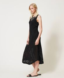 Long crochet dress with embroidery Black Woman 211TT3102-03