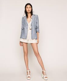 Double breasted pin stripe linen blazer Blue Pin / Antique White Stripes Woman 201TT2303-0T