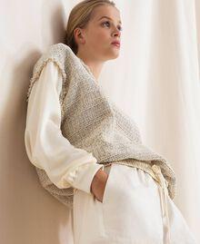 Blouse en tissu bouclé Multicolore Ivoire / Gris «Argent» Femme 201TP2230-02