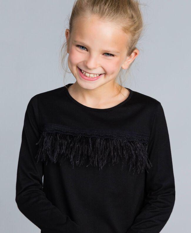 Kleid aus Jersey mit Federn Schwarz Kind GA827A-04