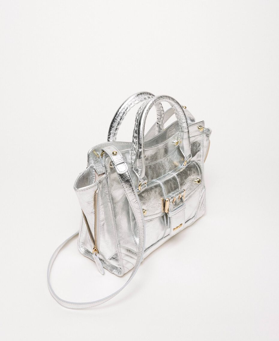 Leather Rebel shopping bag with pocket Titanium Gray Woman 201TA723Z-03