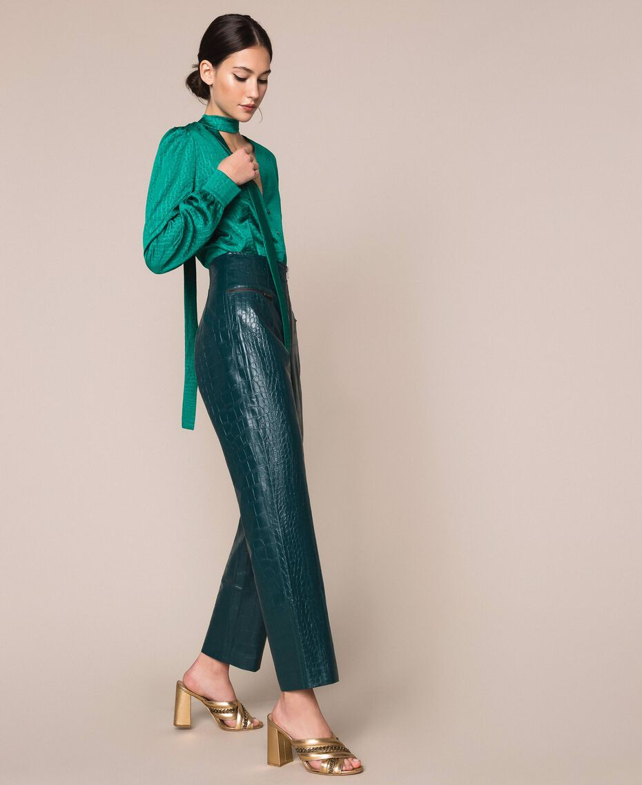 "Crocodile print faux leather trousers ""Forest"" Green Woman 201TP2361-02"