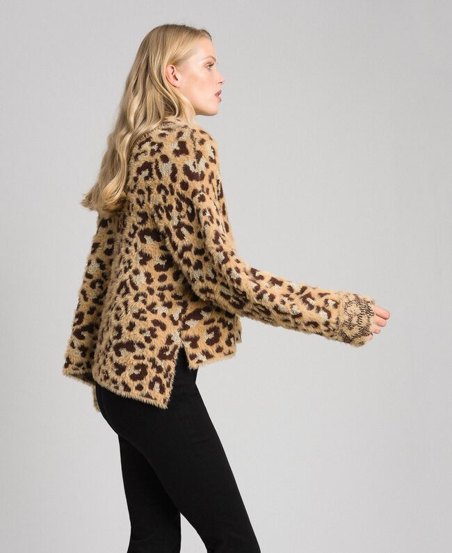 Animal print jacquard jumper with lurex Leopard Print Jacquard Woman 192TT3261-03