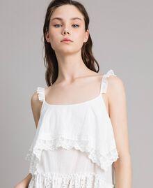 Топ с вышивкой и кружевом Off White женщина 191MT2271-04