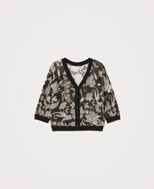 Floral print cardigan-jumper Black Indian Flower Print Woman 211TT3141-0S