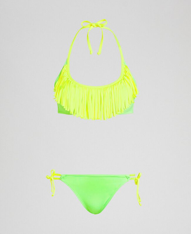 Bikini with fringes Fluorescent Orange / Fluorescent Blue Woman 191TQM024-01
