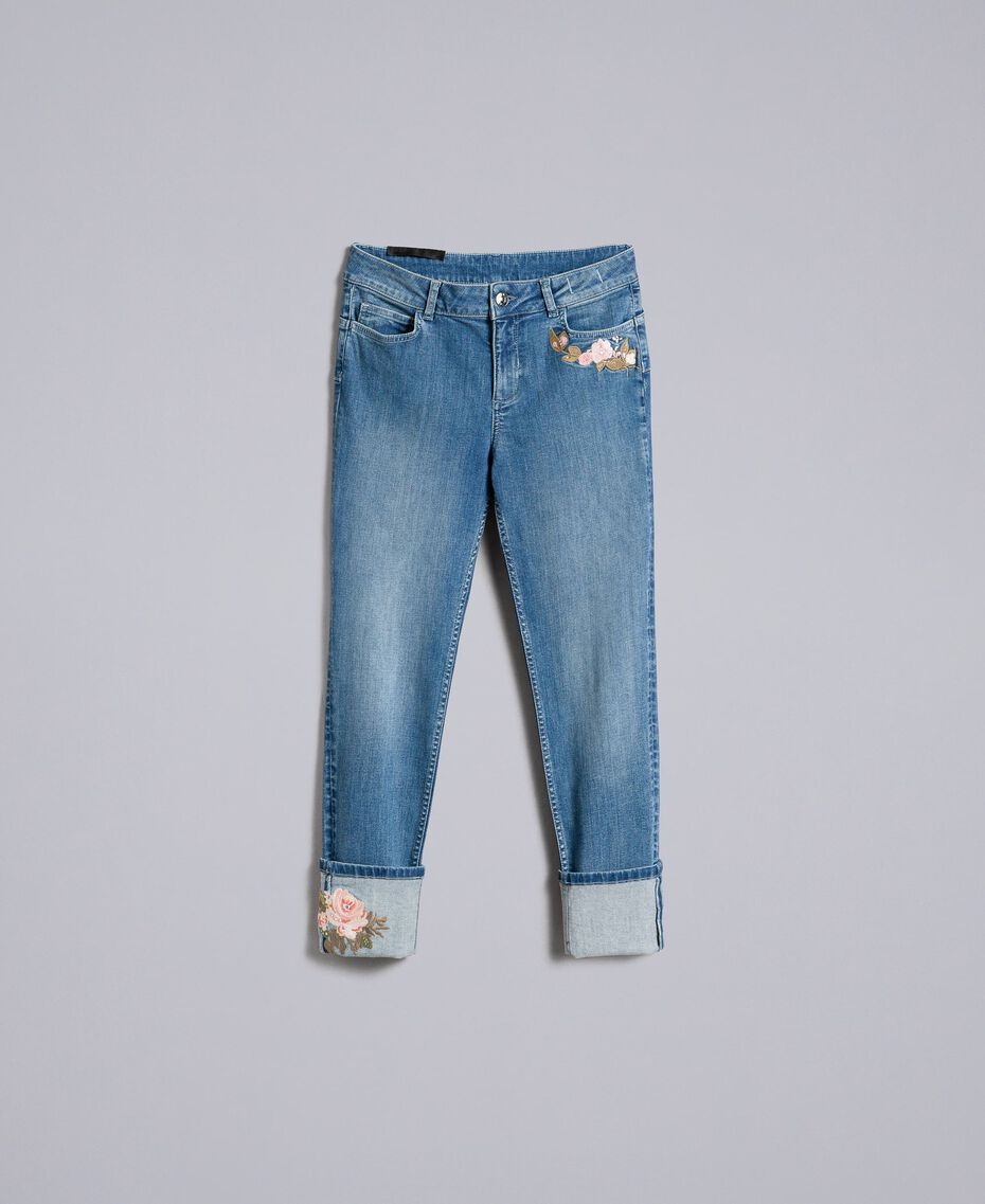 Embroidered skinny jeans with cuffs Denim Blue Woman JA82V5-0S