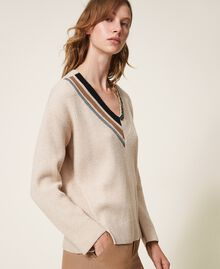 "Ribbed jumper with embroidery ""Nude"" Beige Woman 202ST3090-04"