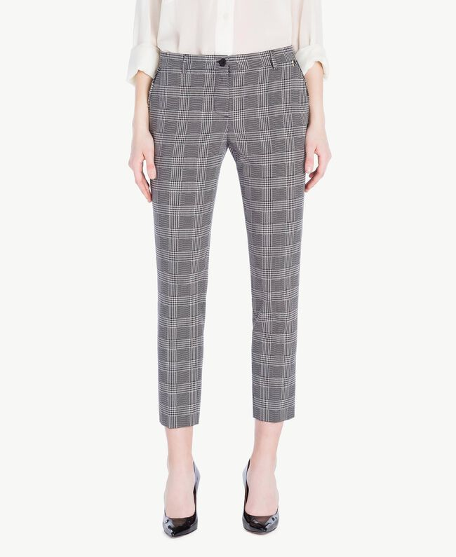 Check drainpipe trousers Jacquard Gingham Woman PS827P-01