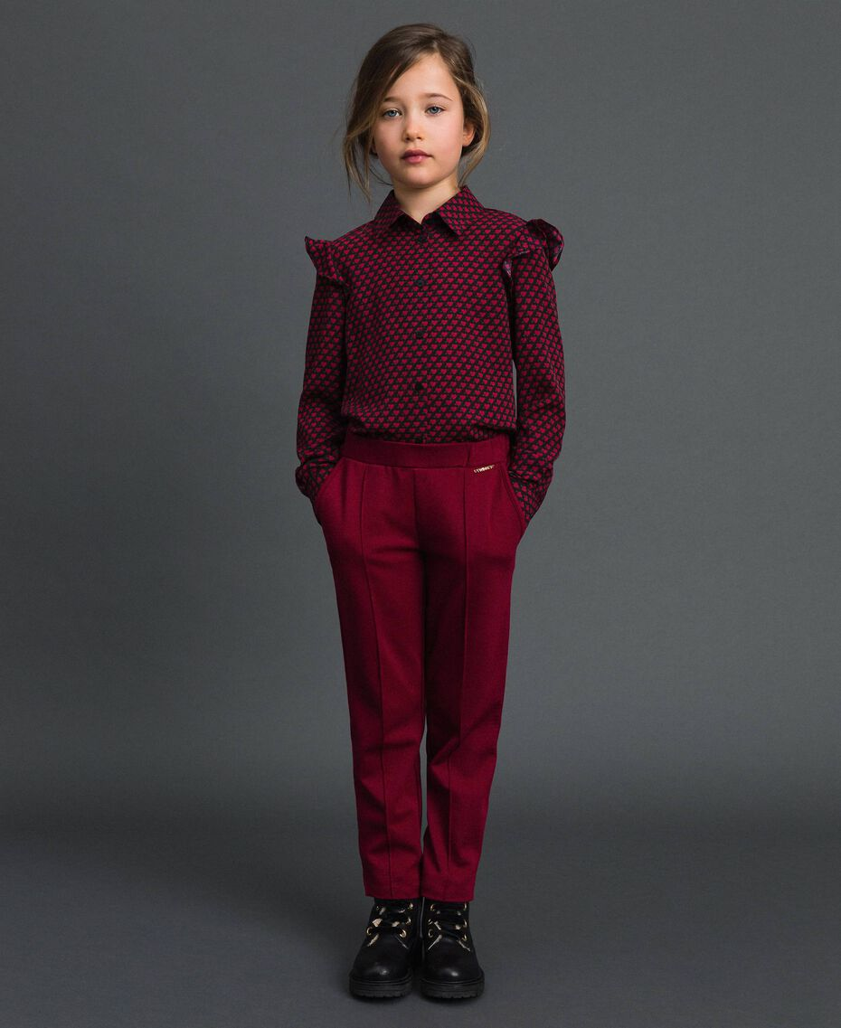 Slim fit trousers with elastic Ruby Wine Red Child 192GJ2250-02