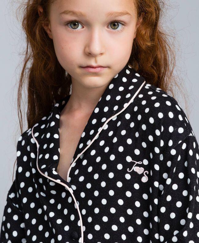 Pyjama en viscose à pois Imprimé Pois Noir / Blanc Cassé Enfant GA828A-04