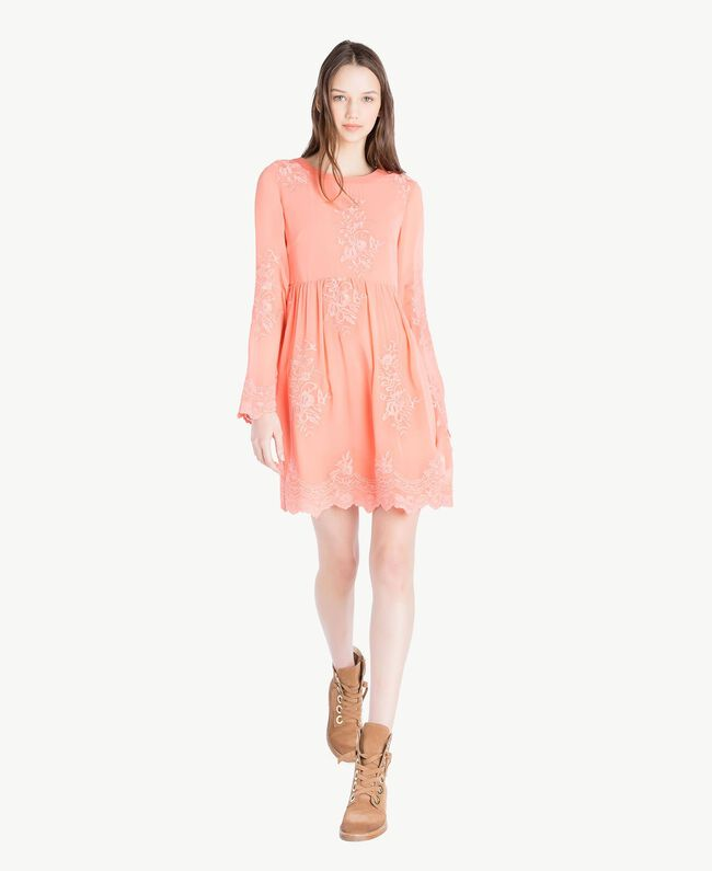 Embroidered dress Coral Pink Woman SS82JD-01