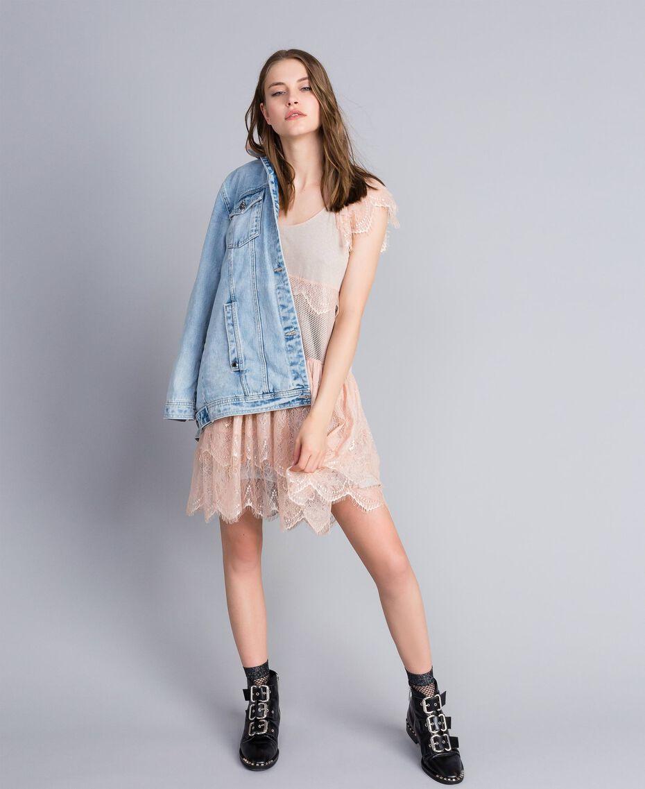"Mesh, lace and plumetis dress Bicolour ""Nude"" Pink / Light Grey Melange Woman JA82HA-0T"